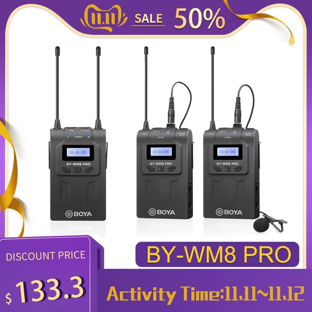 Boya BY-WM8 pro k1/k2 microfone condensador sem fio microfone sistema de áudio gravador vídeo receptor para canon nikon sony câmera