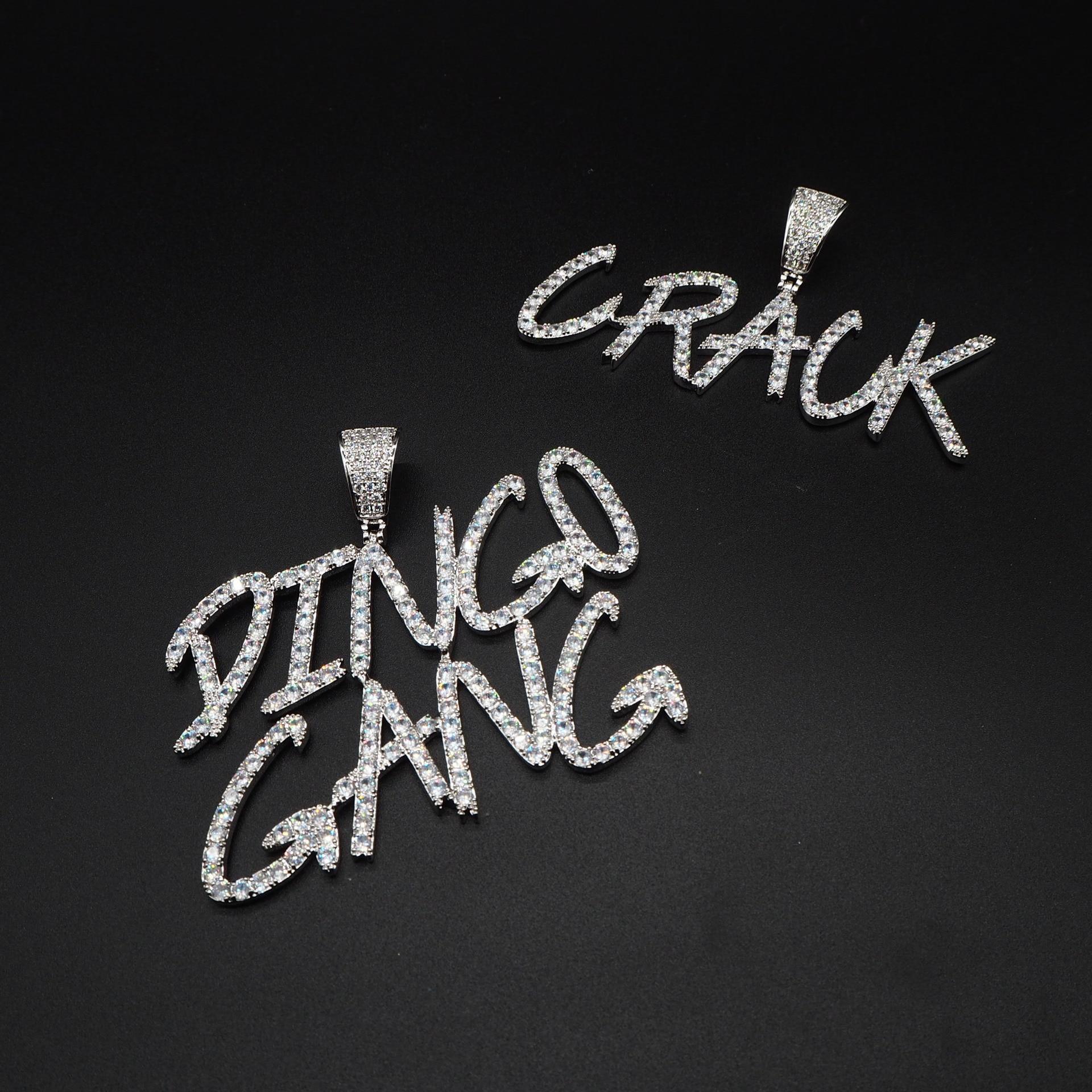 Alfabeto pingente diy livre costura hip-hop colar