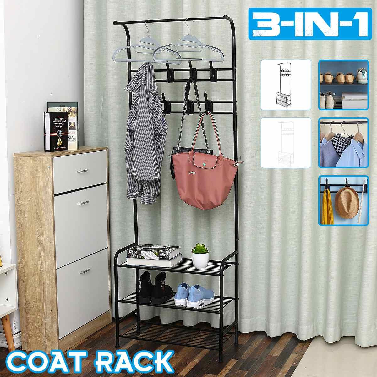 2 tier multi function coat rack clothes hat floor standing hanging storage shelf metal wardrobe hanger racks for bedroom office