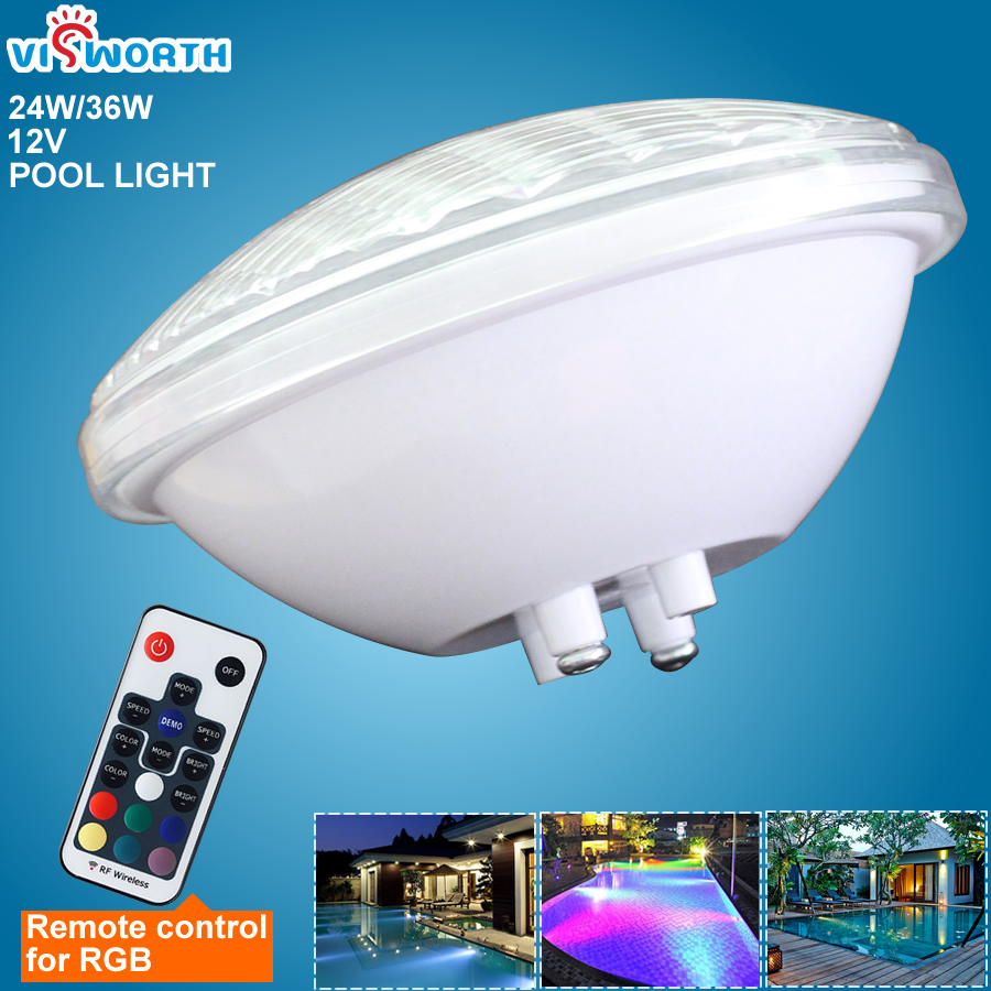 Par56 Swimming Pool Light 24W 36W Fountain Pond Led Light Ip68 Waterproof 12V Warm White Cold White Blue Rgb Underwater Lamp