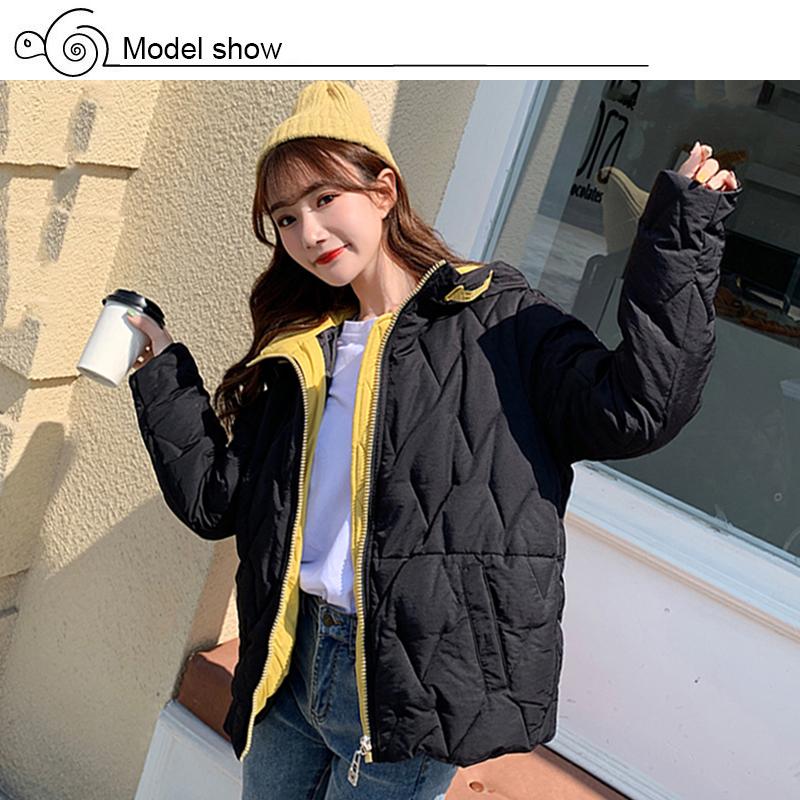 2019 Winter New Short Jacket Women Standing Collar Female Hooded Coat_A5_6