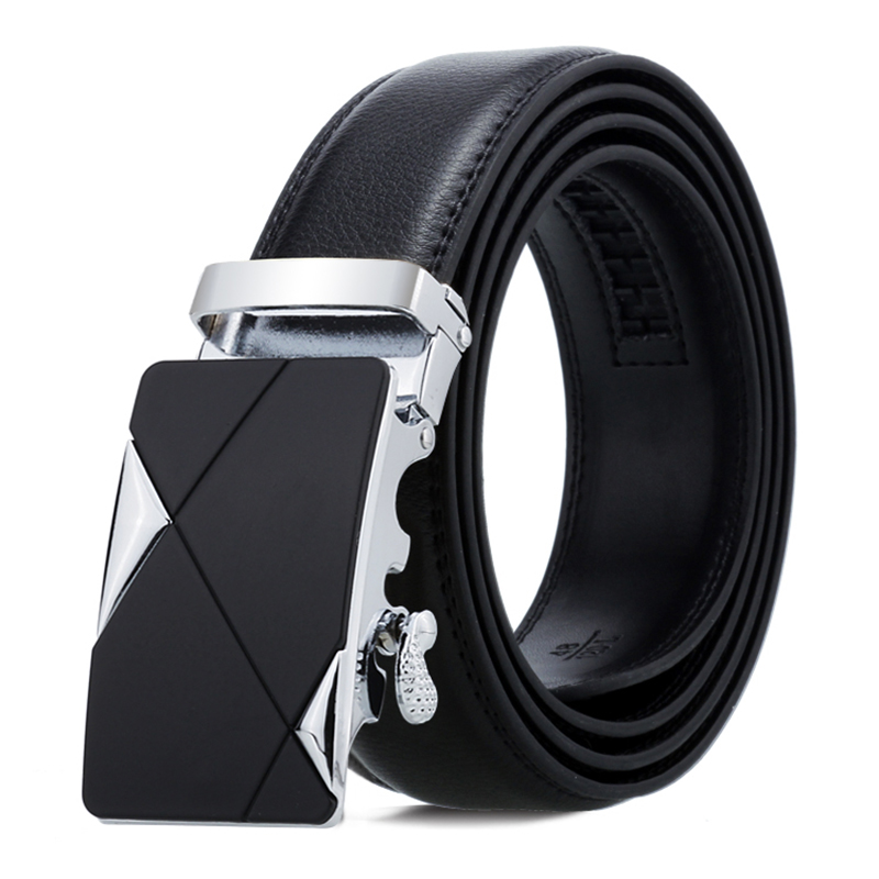 Leather Belt Men Luxury Genuine Leather Black Belt High Quality Business Alloy Automatic Buckle Male Strap