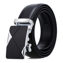 цена на Leather Belt Men Luxury Genuine Leather Black Belt High Quality Business Alloy Automatic Buckle Male Strap