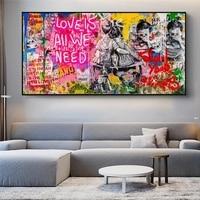 Banksy Kunst Liebe Ist Alle Wir Benötigen Leinwand Gemälde auf Die Wand Folgen Sie Ihrem Traum Graffiti Street Art Bilder für hause Dekoration