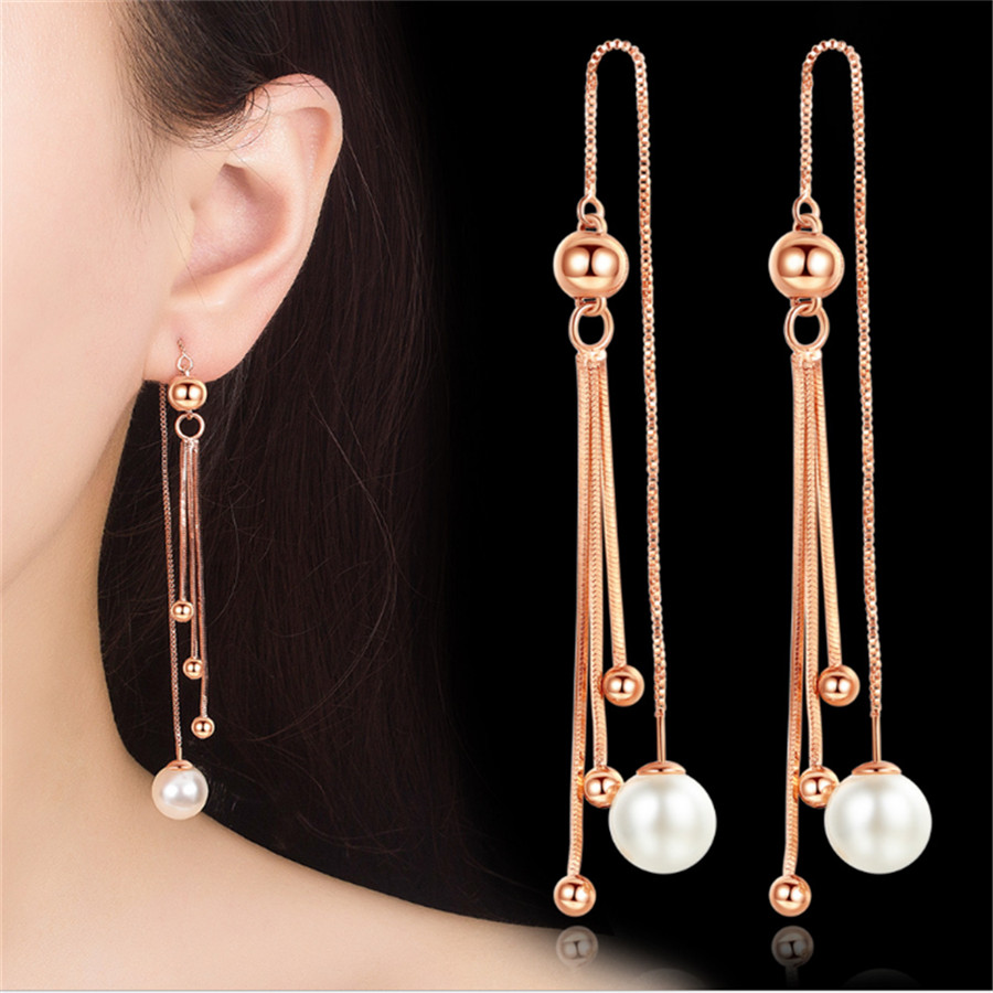 New Unique Drop Ear Line Long Tassel Earrings For Women Rose Silver Color elegant Simulated pearl earring Jewelry Dropshipping