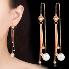 New Unique Drop Ear Line Long Tassel Earrings For Women Rose Silver Color elegant Simulated pearl earring Jewelry Dropshipping 2020 korean style simulated pearl tassel earrings for women sweet small pearl geometric gold color elegant drop earring jewelry