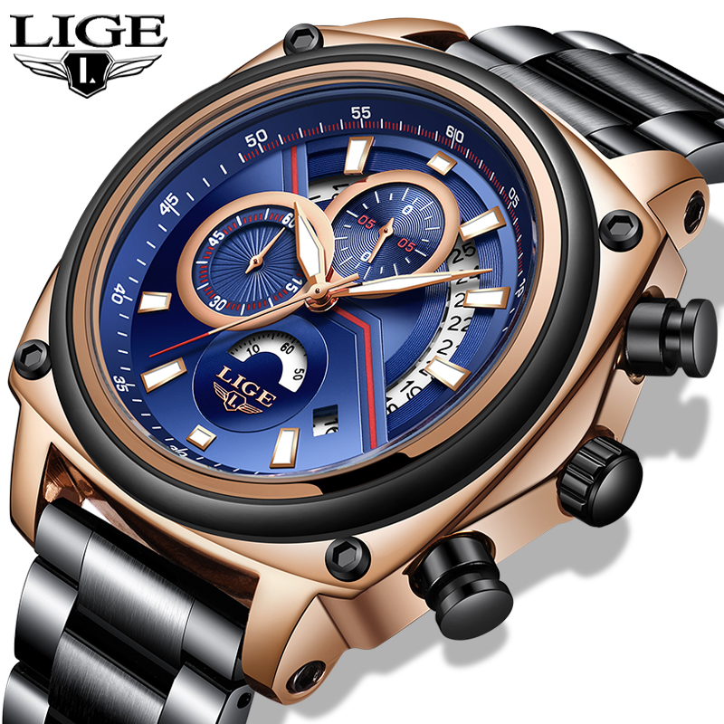 Relogio Masculino 2019 LIGE New Mens Watches Top Brand Fashion Sports Wristwatch Quartz Clock Stainless Steel Waterproof Watches