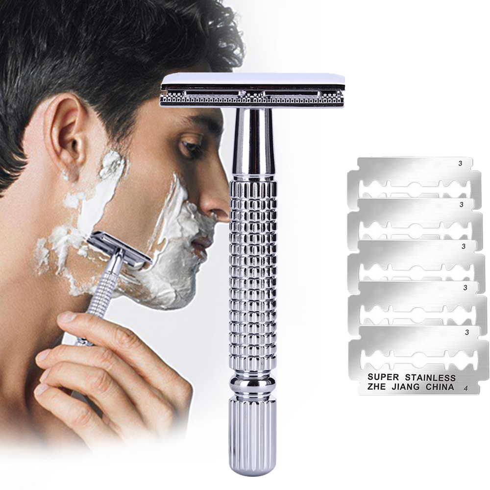 Safety Double Edge Razor For Men Barber Straight Razor Holder Men's Shaving Face Razor Blades Shaving Machine