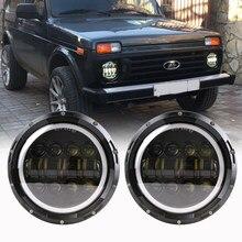DRL 7'' LED Headlight for Lada niva 4X4 suzuki samurai car light Daytime running lights for Jeep Wrangler JK TJ(China)