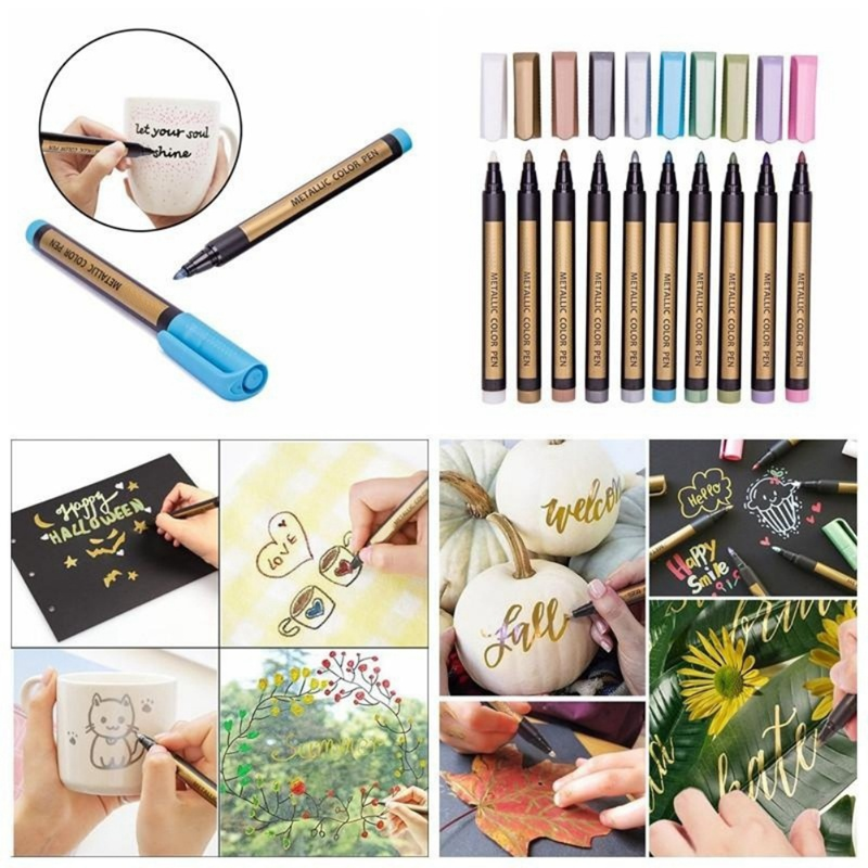 Color Metal Marker 10 Color Set Liquid Ink Paint Note Pen Mark Ceramic Glass Making Album Black Cardboard Drawing