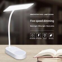 Sáng Tạo Đôi Thiết Kế Đèn Sạc USB 5 Dừng Lại Lạnh/Ánh Sáng Ấm Áp Đèn Bàn Để Bàn LED Đèn Để Bàn dẻo Đèn Linh Hoạt