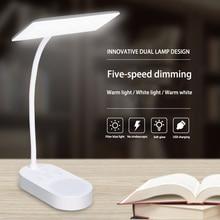 مبتكرة مزدوجة تصميم مصباح USB شحن 5 توقف الباردة/الدافئة ضوء الجدول مصباح مكتب مصباح الطاولة Led مكتب مصابيح فليكسو مرنة مصباح