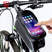 WHeel UP MTB Bicycle Bike Bag 6 Touchscreen Frame Reflective Cycling Top Waterproof Tube Phone Case Accessories