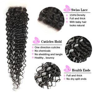 Image 4 - Queenlike 髪製品 3 4 個人間の髪のバンドル閉鎖非レミー織りブラジルでバンドル閉鎖