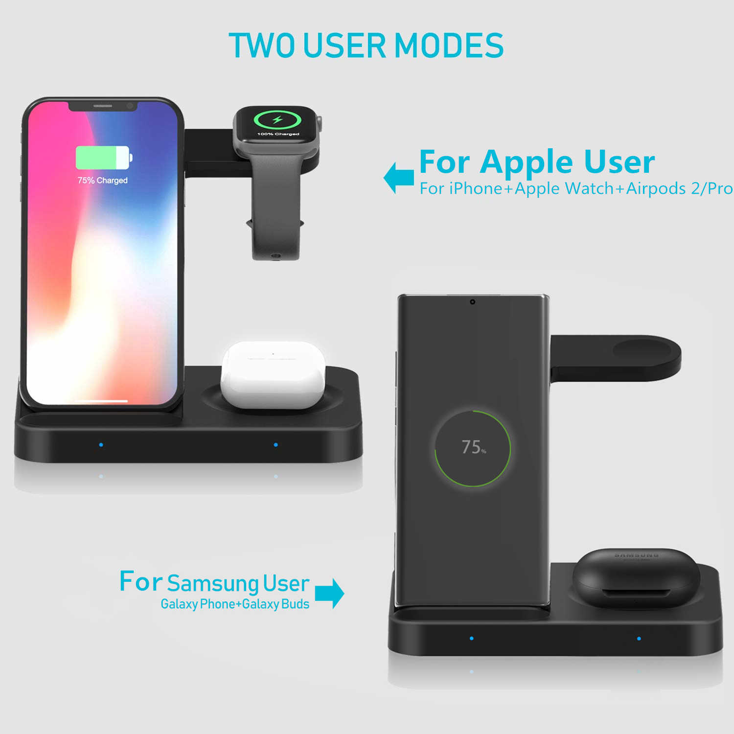 FDGAO 15W צ 'י אלחוטי מטען 3 ב 1 טעינת Stand עבור Airpods פרו iWatch תחנת עבור אפל שעון 5 4 3 2 1 iPhone 11 XS XR X 8