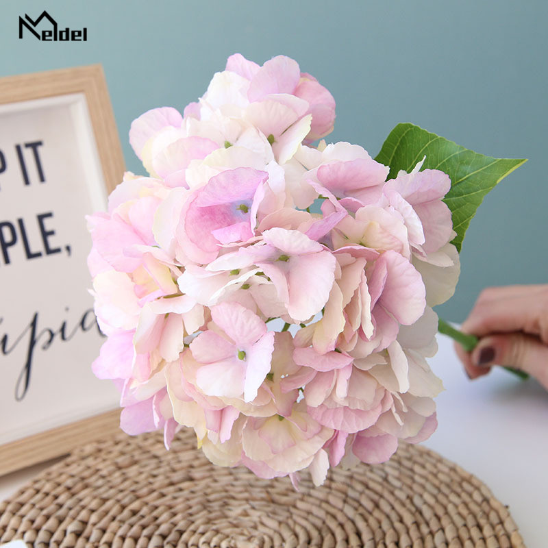 Meldel Artificial Silk Flowers Hydrangea Branch Home Wedding Decor Autum Silk Fake Flowers Plastic Stem Party Room Decor Flowers