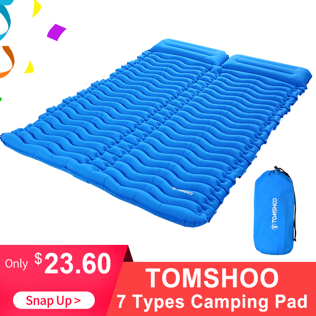 Tomshooダブルスリーピングパッド 2 人超軽量ポータブルマットレスインフレータブルマットキャンピングマットベッド屋外枕