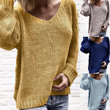 HEFLASHOR Sexy V-neck Knitted Sweater Women 2019 Casual Loose Sweater