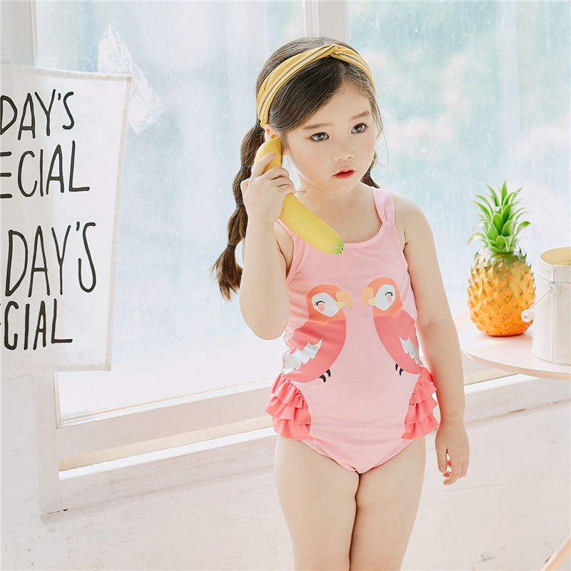 Girl'S One-piece Swimming Suit 2019 Summer Wear New Style Children Cartoon Bikini Little Girl Swimwear Fashion