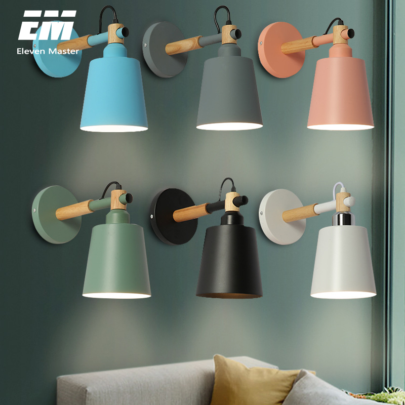 wooden wall lights bedside wall lamp wall sconce modern wall light for bedroom Nordic macaroon 6 color black E27 85-285V ZBD0029