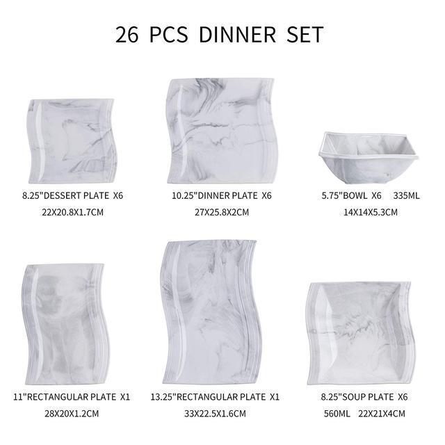 MALACASA FLORA 26-Piece Nordic European Style Marble Porcelain Dinnerware Set with Bowl,Dinner Plate,Dessert&Soup Plate Set Gift 6