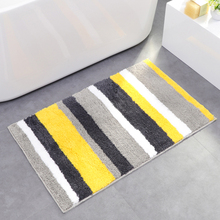 Shaggy Fleece Bathroom Mat Non-slip Rug Washable Absorption Soft Mat For Toilet Bathroom Rug Stripes Carpet For Kitchen mandala water absorption coral fleece rug