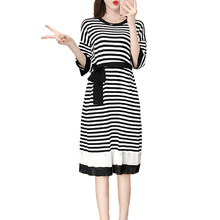 New Women's Knit Dress Striped Slim Knit Round Neck Sweater Autumn Hot Loose Striped Knit Dress Casual Shopping Ladies Dresses striped trim ribbed knit dress
