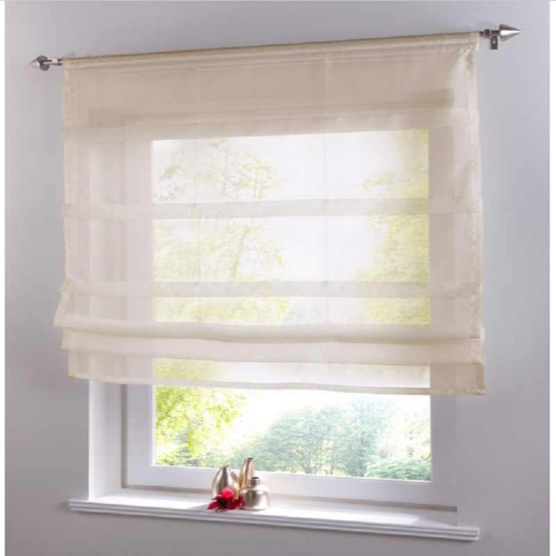 ستائر قصيرة من الفوال للمطبخ ستائر كورتينا شفافة صلبة من التول لوحة فحص لغرف النوم ستائر رومانية لمعالجة النوافذ