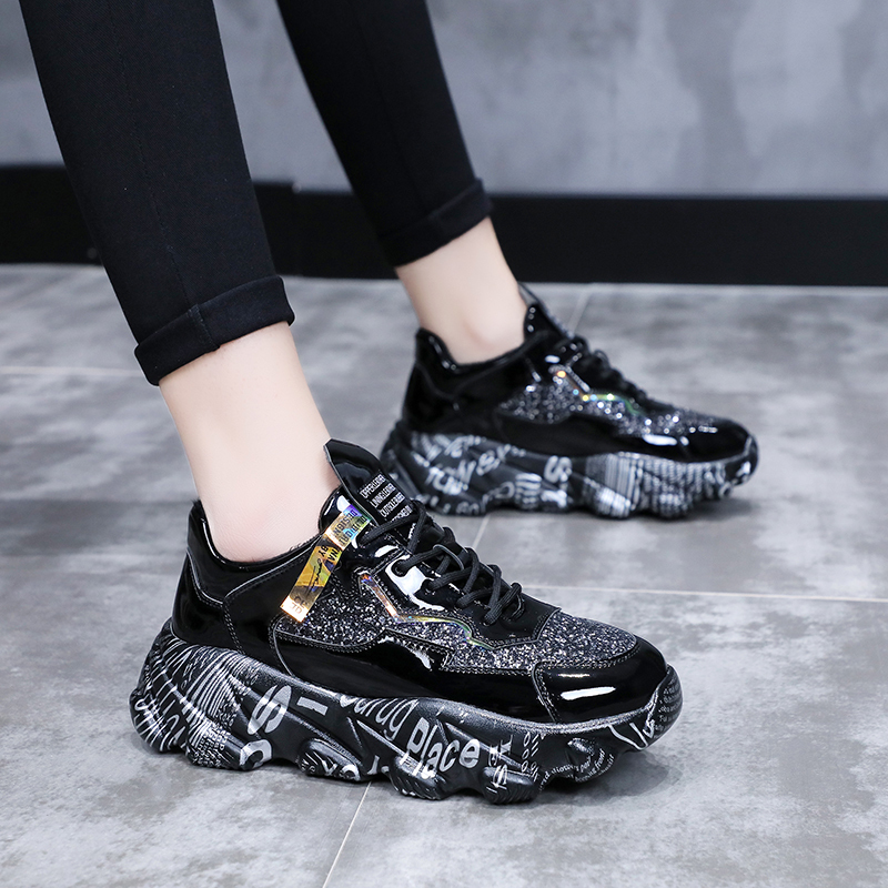 Women Sneakers Black Fashion Thick Bottom Chunky Shoes Womens Platform Sneakers Casual Shoes Zapatos De Mujer New Dropshipping