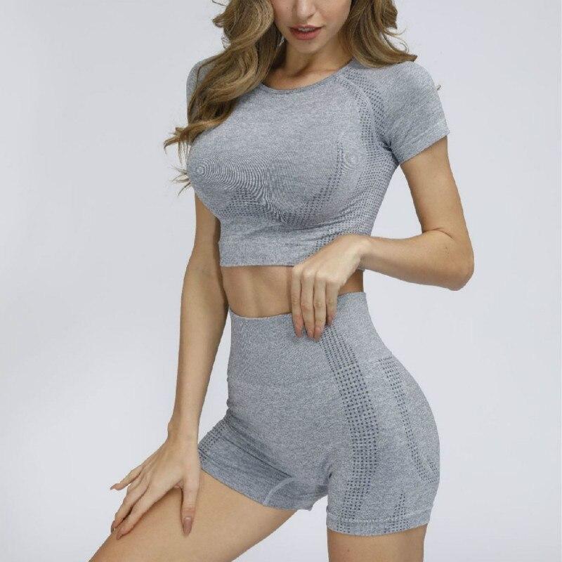 Seamless women yoga gym set sport suit gymwear fitness short