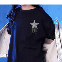 1 pcsCrystal Rhinestone Star Patches  On Patch For Clothing Badge Applique Clothes Bag Pant Shoes Pentagram