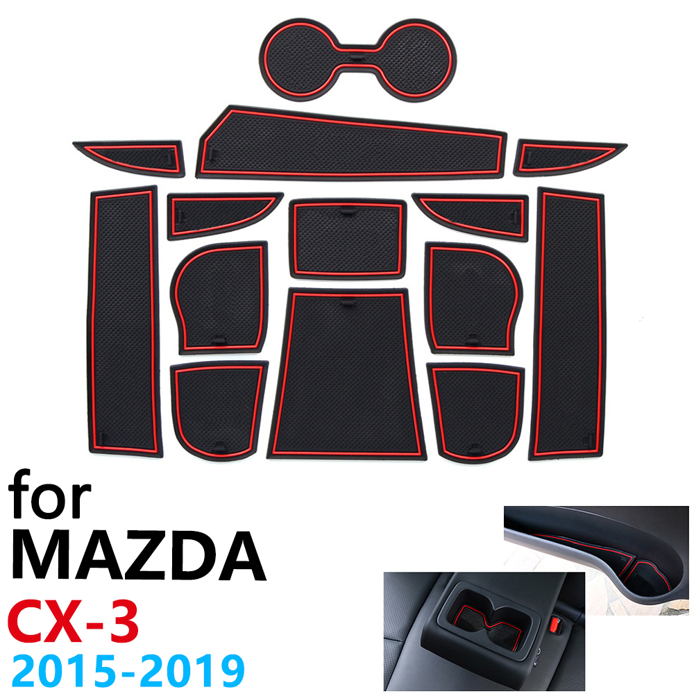 Anti-Slip Rubber Cup Cushion Door Groove Mat for <font><b>Mazda</b></font> <font><b>CX</b></font>-3 CX3 <font><b>CX</b></font> 3 2015~2019 13Pcs Accessories mat for phone <font><b>2016</b></font> 2017 2018 image