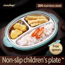 Kunzhan Stainless Steel Bento with Compartments Cute Lunch Box with PP Spoon for Kids School