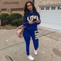 Nuevo Conjunto de ropa deportiva de dos piezas con estampado de letras de talla grande 2019 para mujer
