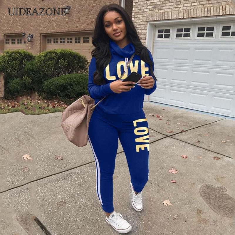 Plus Size 2019 New Slim Letter Print Two Piece Set Sportswear Tracksuit Women High Neck Conjunto Feminino Sweatshirt Set Outfits