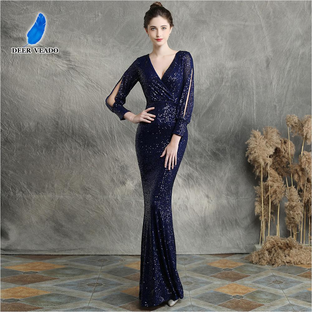 DEERVEADO Evening Dress Long Sleeves Formal Dress Evening Party Dresses 2019 Sexy Deep V Neck Sequins Evening Gown K16255