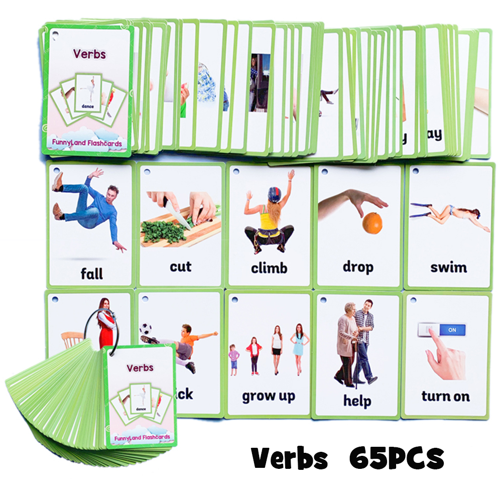 Kids Montessori Baby Learn English Word Card Flashcards Cognitive Educational Toys Picture Memorise Games Gifts For Children