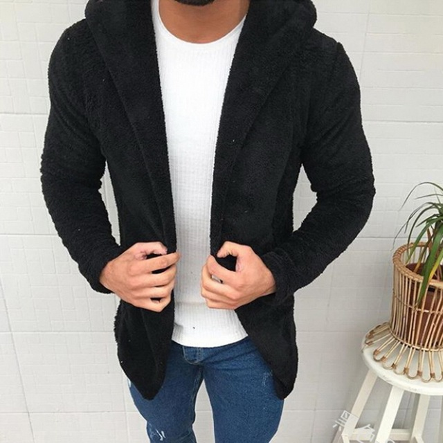 Mens Thick Hooded Jackets Coats Clothes Men Cardigan Fashion Fur Hat Cotton Solid Color Jacket Men Causual Outerwear Open Stitch