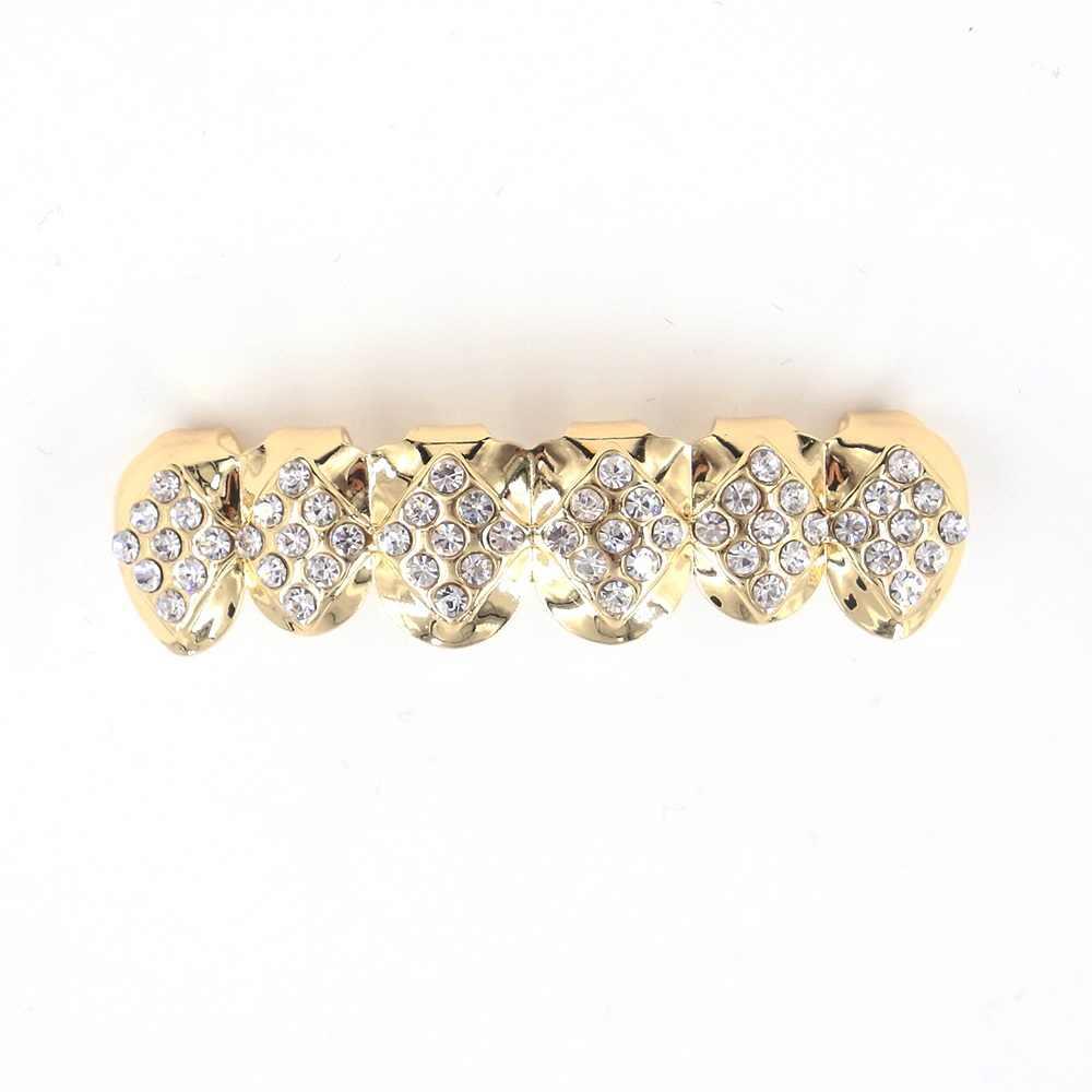 כיכר צורת קריסטל אבן grillz שיניים hiphop זהב צבע למעלה תחתון ליל כל הקדושים קוספליי מתנה ראפר רקדנית כסף שן גריל