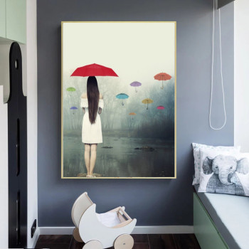 Woman with Umbrella In The Rain Painting Printed on Canvas 2