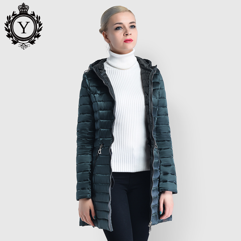 Amazon Hot Selling 2019 Autumn & Winter Bright Surface WOMEN'S Quilted Cotton Coat Europe And America Mid-length Women Coat Cros