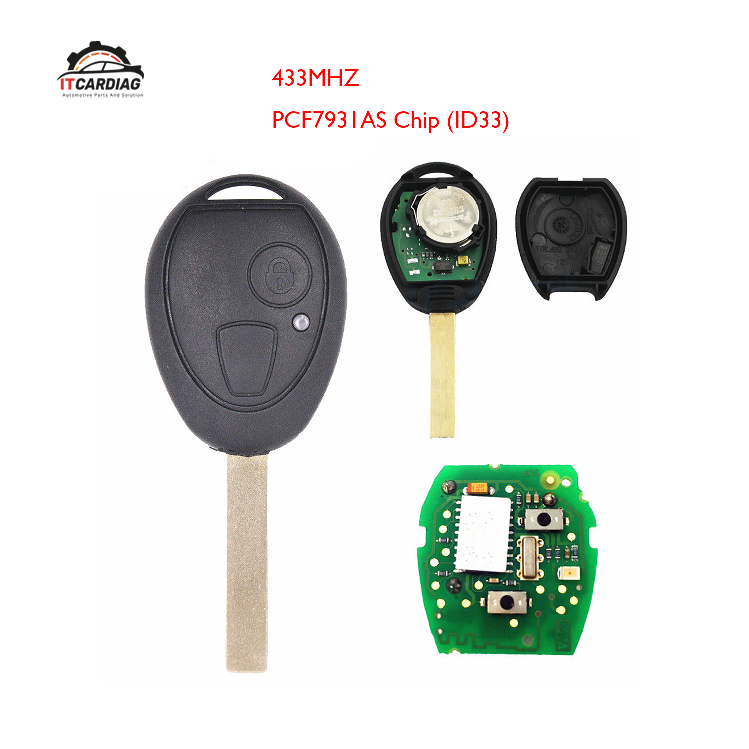 Replacement <font><b>Remote</b></font> Car <font><b>Key</b></font> Fob 433MHz ID33 PCF7931AS Chip <font><b>for</b></font> <font><b>BMW</b></font> Mini Copper, <font><b>for</b></font> Land Rover 75 MG ZT 2002-2005 image