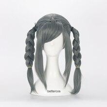 Cosplay Wig Peko Pekoyama Danganronpa Synthetic-Hair Wig-Cap Glasses Heat-Resistant Dark-Grey