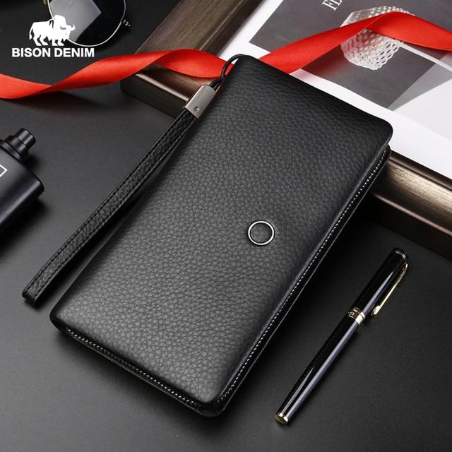 BISON DENIM en cuir véritable portefeuille hommes marque de luxe téléphone portefeuille fermeture éclair pièce longue sac à main grande entreprise mâle portefeuille N8252