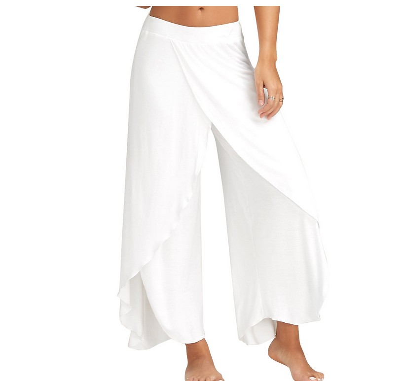 Muyogrt Wide Leg Pants Women Capris Solid Loose Bloomers Fitness Dance Wear Split Trousers Plus Size Harem Pants Elastic Palazzo