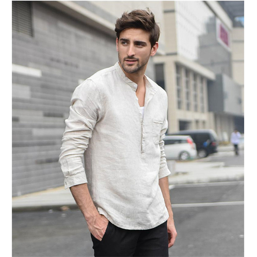 Man Solid Long Sleeve Shirt Casual Spring Cotton Linen T-shirt Chinese Traditional V-Neck Pocket Retro Buttons Tops For Male