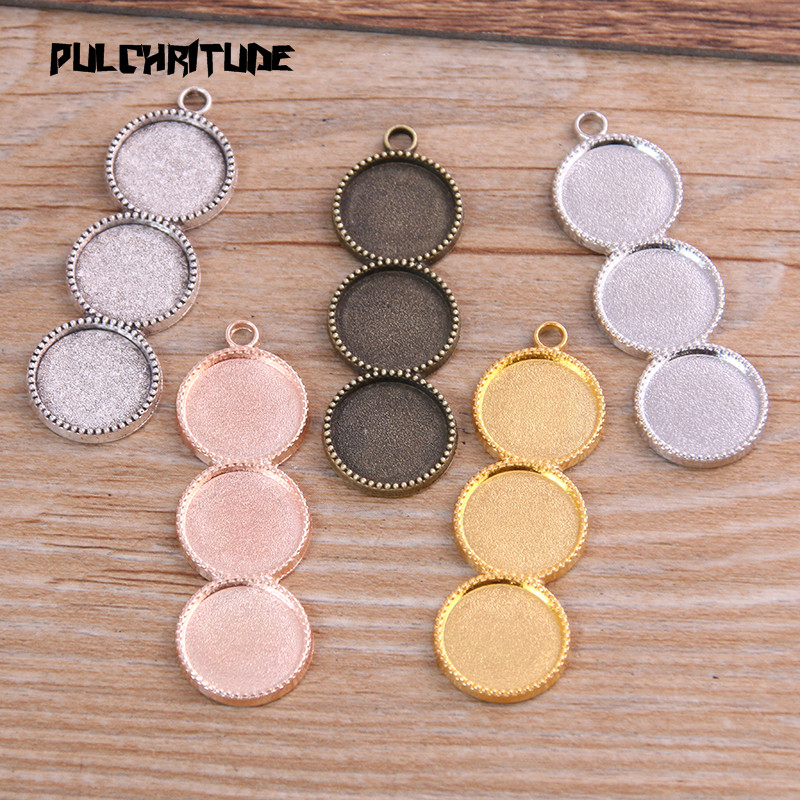 6pcs New product 12mm*3 Inner Size 5 Color Metal Alloy Simple Round Cabochon Pendant Setting Jewelry Findings