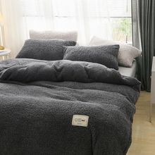 Home Textiles Winter bedding set soft warm lamb cashmere duvet cover solid fleece flat sheet pillowcase bed cover full Beddingg