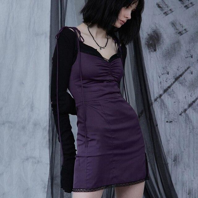InsGoth Sexy Spaghetti Straps Bodycon Gothic Black Dress Women Streetwear Black Lace Up Mini Female Dress Casual Purple Dress 1