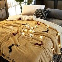 Mais novo 2 em 1 lance cobertor flanela & cordeiro cashmere inverno grosso cama capa de edredão verão cobertor xadrez macio suave clássico